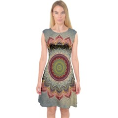 Folk Art Lotus Mandala Dirty Blue Red Capsleeve Midi Dress