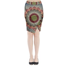 Folk Art Lotus Mandala Dirty Blue Red Midi Wrap Pencil Skirt
