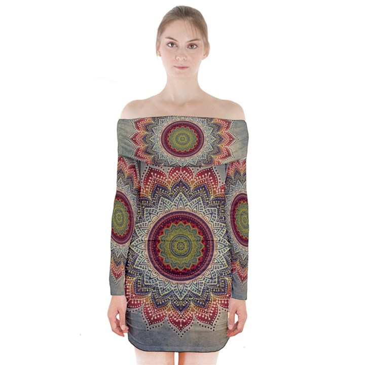 Folk Art Lotus Mandala Dirty Blue Red Long Sleeve Off Shoulder Dress