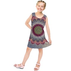 Folk Art Lotus Mandala Dirty Blue Red Kids  Tunic Dress