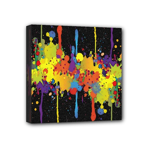 Crazy Multicolored Double Running Splashes Horizon Mini Canvas 4  x 4