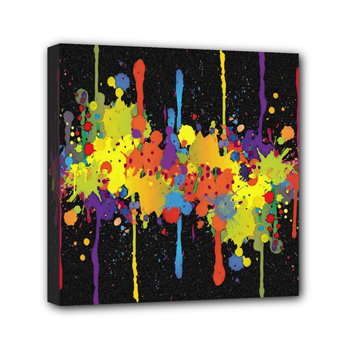 Crazy Multicolored Double Running Splashes Horizon Mini Canvas 6  x 6