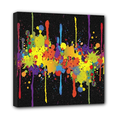 Crazy Multicolored Double Running Splashes Horizon Mini Canvas 8  x 8