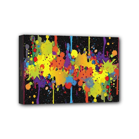 Crazy Multicolored Double Running Splashes Horizon Mini Canvas 6  X 4