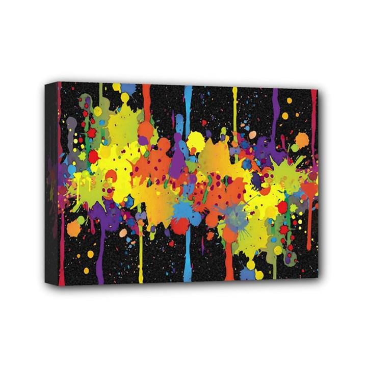 Crazy Multicolored Double Running Splashes Horizon Mini Canvas 7  x 5