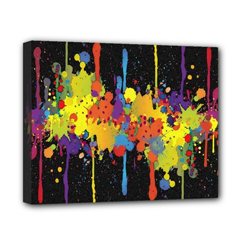 Crazy Multicolored Double Running Splashes Horizon Canvas 10  x 8