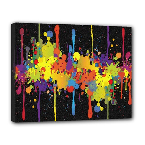 Crazy Multicolored Double Running Splashes Horizon Canvas 14  x 11