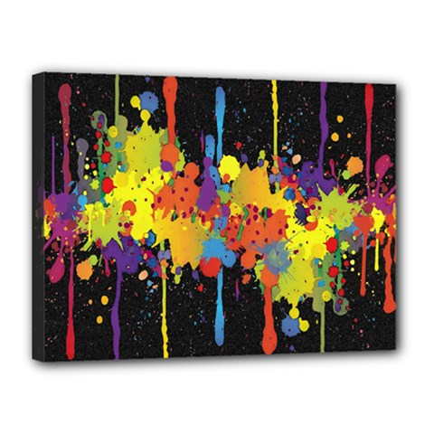 Crazy Multicolored Double Running Splashes Horizon Canvas 16  X 12