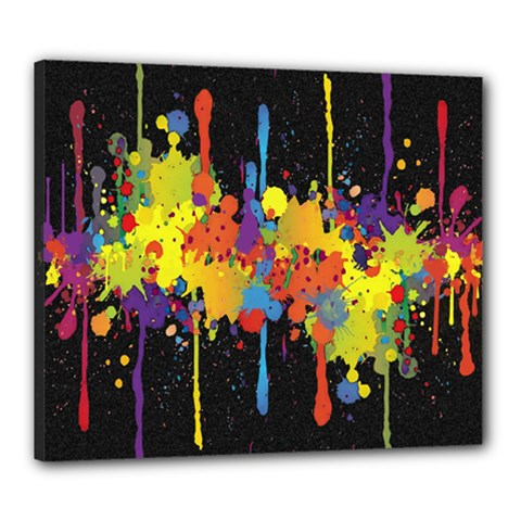 Crazy Multicolored Double Running Splashes Horizon Canvas 24  x 20