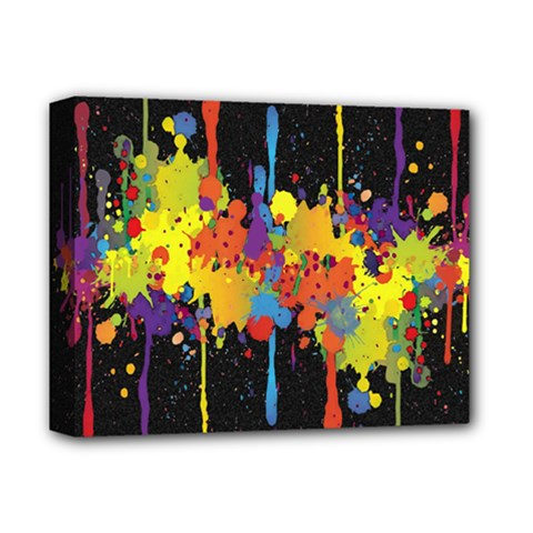 Crazy Multicolored Double Running Splashes Horizon Deluxe Canvas 14  x 11