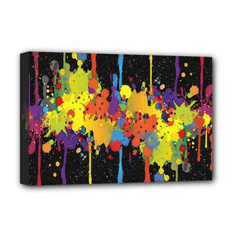 Crazy Multicolored Double Running Splashes Horizon Deluxe Canvas 18  X 12