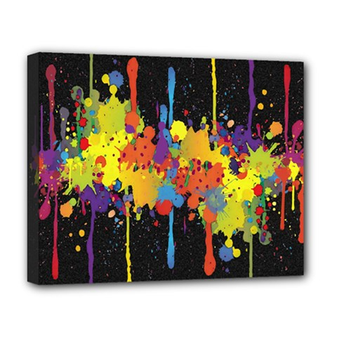 Crazy Multicolored Double Running Splashes Horizon Deluxe Canvas 20  x 16