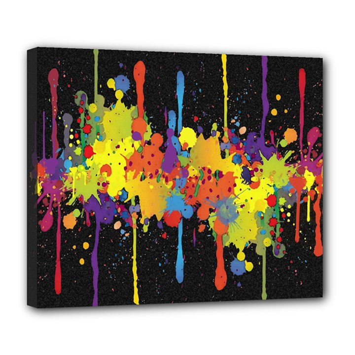 Crazy Multicolored Double Running Splashes Horizon Deluxe Canvas 24  x 20