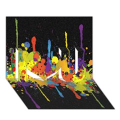 Crazy Multicolored Double Running Splashes Horizon I Love You 3d Greeting Card (7x5)