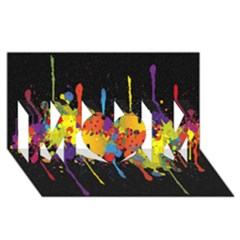 Crazy Multicolored Double Running Splashes Horizon Mom 3d Greeting Card (8x4)