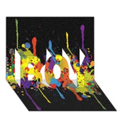 Crazy Multicolored Double Running Splashes Horizon BOY 3D Greeting Card (7x5)