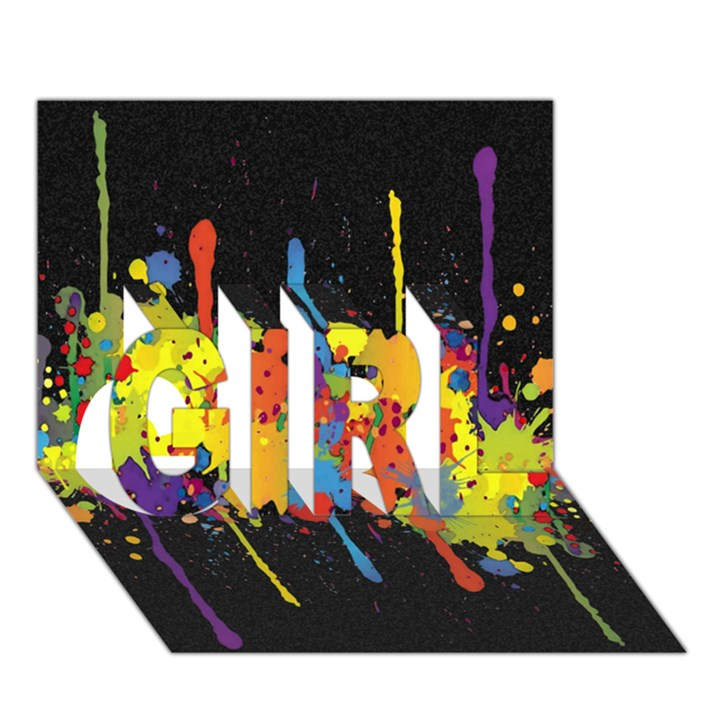 Crazy Multicolored Double Running Splashes Horizon GIRL 3D Greeting Card (7x5)