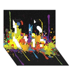 Crazy Multicolored Double Running Splashes Horizon Love 3d Greeting Card (7x5)