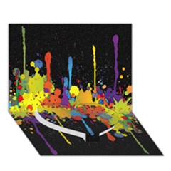 Crazy Multicolored Double Running Splashes Horizon Heart Bottom 3d Greeting Card (7x5)
