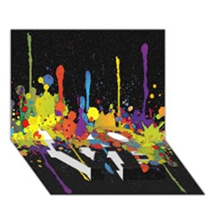 Crazy Multicolored Double Running Splashes Horizon Love Bottom 3d Greeting Card (7x5)