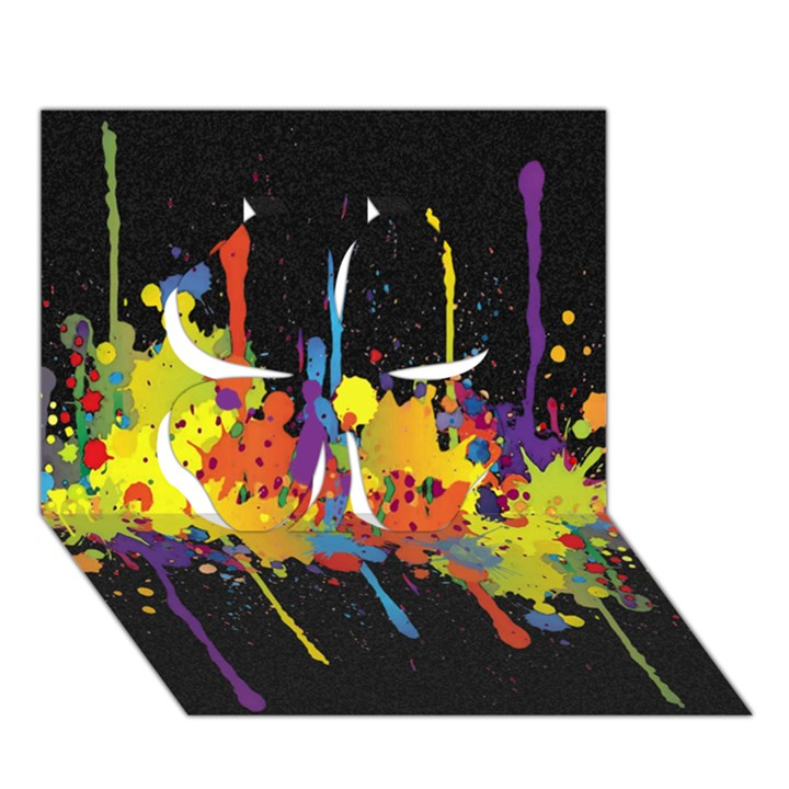 Crazy Multicolored Double Running Splashes Horizon Clover 3D Greeting Card (7x5)