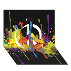Crazy Multicolored Double Running Splashes Horizon Peace Sign 3d Greeting Card (7x5)