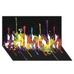 Crazy Multicolored Double Running Splashes Horizon #1 Mom 3d Greeting Cards (8x4)