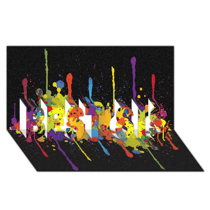 Crazy Multicolored Double Running Splashes Horizon BEST SIS 3D Greeting Card (8x4)