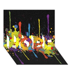 Crazy Multicolored Double Running Splashes Horizon HOPE 3D Greeting Card (7x5)