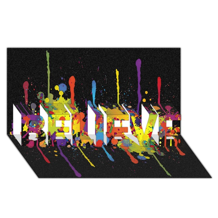 Crazy Multicolored Double Running Splashes Horizon BELIEVE 3D Greeting Card (8x4)