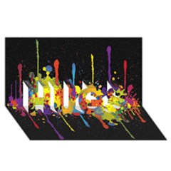 Crazy Multicolored Double Running Splashes Horizon Hugs 3d Greeting Card (8x4)