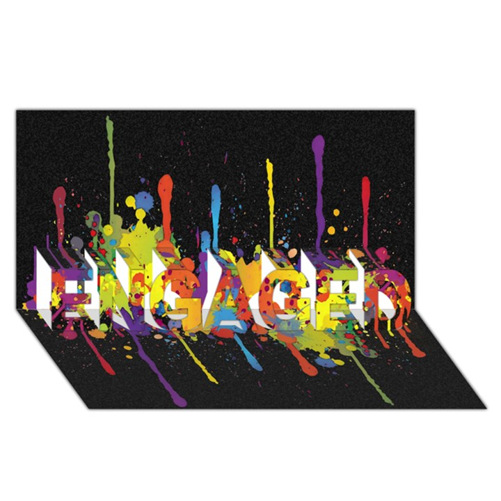 Crazy Multicolored Double Running Splashes Horizon ENGAGED 3D Greeting Card (8x4)