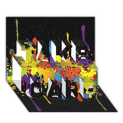 Crazy Multicolored Double Running Splashes Horizon TAKE CARE 3D Greeting Card (7x5)