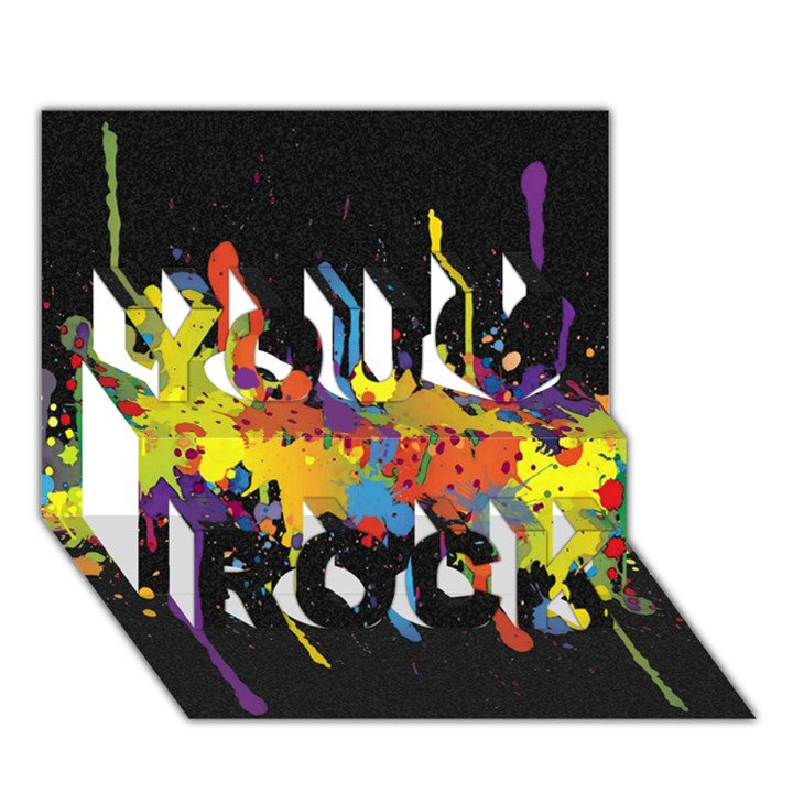 Crazy Multicolored Double Running Splashes Horizon You Rock 3D Greeting Card (7x5)
