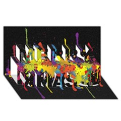 Crazy Multicolored Double Running Splashes Horizon Merry Xmas 3D Greeting Card (8x4)