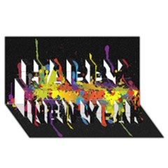Crazy Multicolored Double Running Splashes Horizon Happy New Year 3d Greeting Card (8x4)
