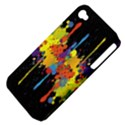 Crazy Multicolored Double Running Splashes Horizon Apple iPhone 4/4S Hardshell Case (PC+Silicone) View4