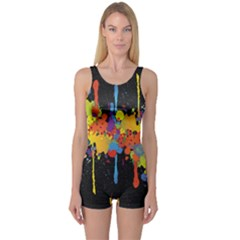 Crazy Multicolored Double Running Splashes Horizon One Piece Boyleg Swimsuit