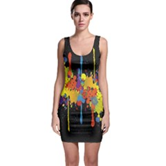 Crazy Multicolored Double Running Splashes Horizon Sleeveless Bodycon Dress
