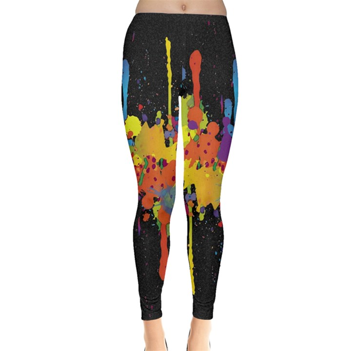 Crazy Multicolored Double Running Splashes Horizon Leggings