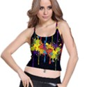 Crazy Multicolored Double Running Splashes Horizon Spaghetti Strap Bra Top View1