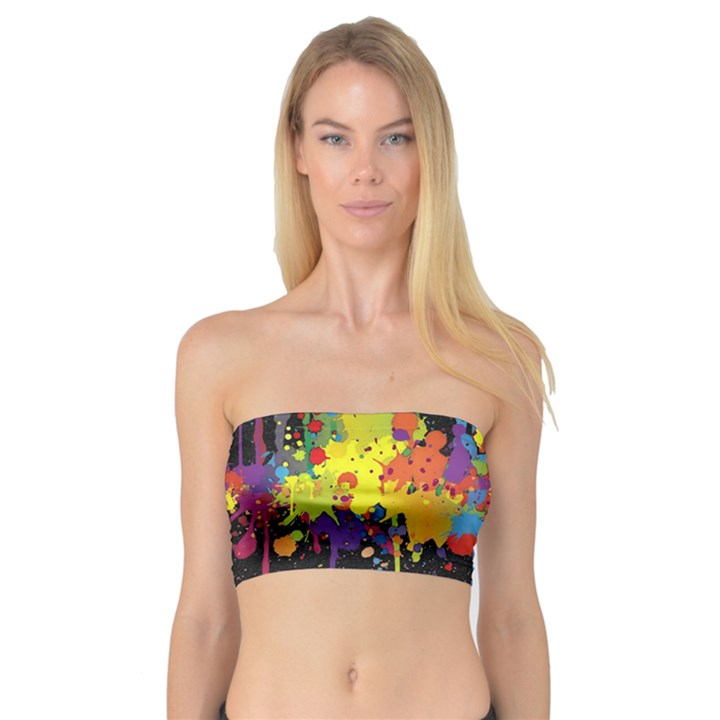 Crazy Multicolored Double Running Splashes Horizon Bandeau Top