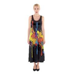 Crazy Multicolored Double Running Splashes Horizon Sleeveless Maxi Dress