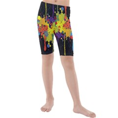 Crazy Multicolored Double Running Splashes Horizon Kids  Mid Length Swim Shorts