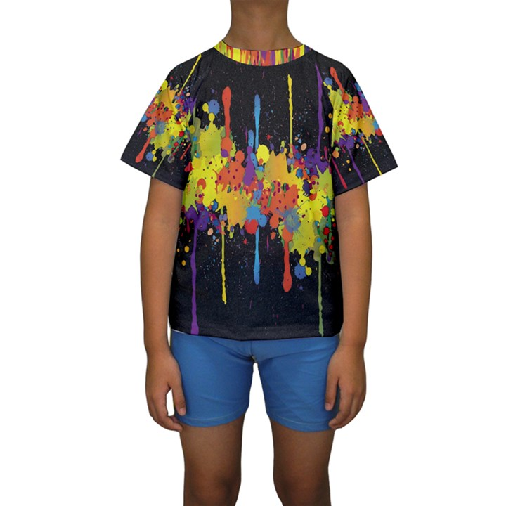 Crazy Multicolored Double Running Splashes Horizon Kids  Short Sleeve Swimwear