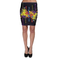 Crazy Multicolored Double Running Splashes Horizon Bodycon Skirt