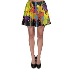 Crazy Multicolored Double Running Splashes Horizon Skater Skirt