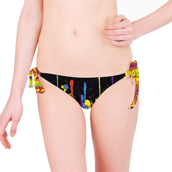 Crazy Multicolored Double Running Splashes Horizon Bikini Bottom