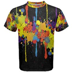 Crazy Multicolored Double Running Splashes Horizon Men s Cotton Tee