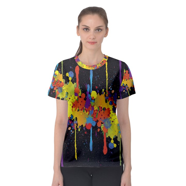 Crazy Multicolored Double Running Splashes Horizon Women s Sport Mesh Tee